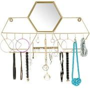Wall-Mounted Jewelry Storage Organizer: Metal Holder Hanging Mirror Display - EGP-HD-0114