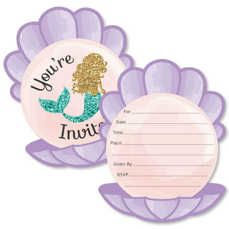 Paint Party Invitations (Let's Be Mermaids - Shaped Fill-In Invitations - Baby Shower or Birthday Party Invitation Cards with Envelopes - 12)