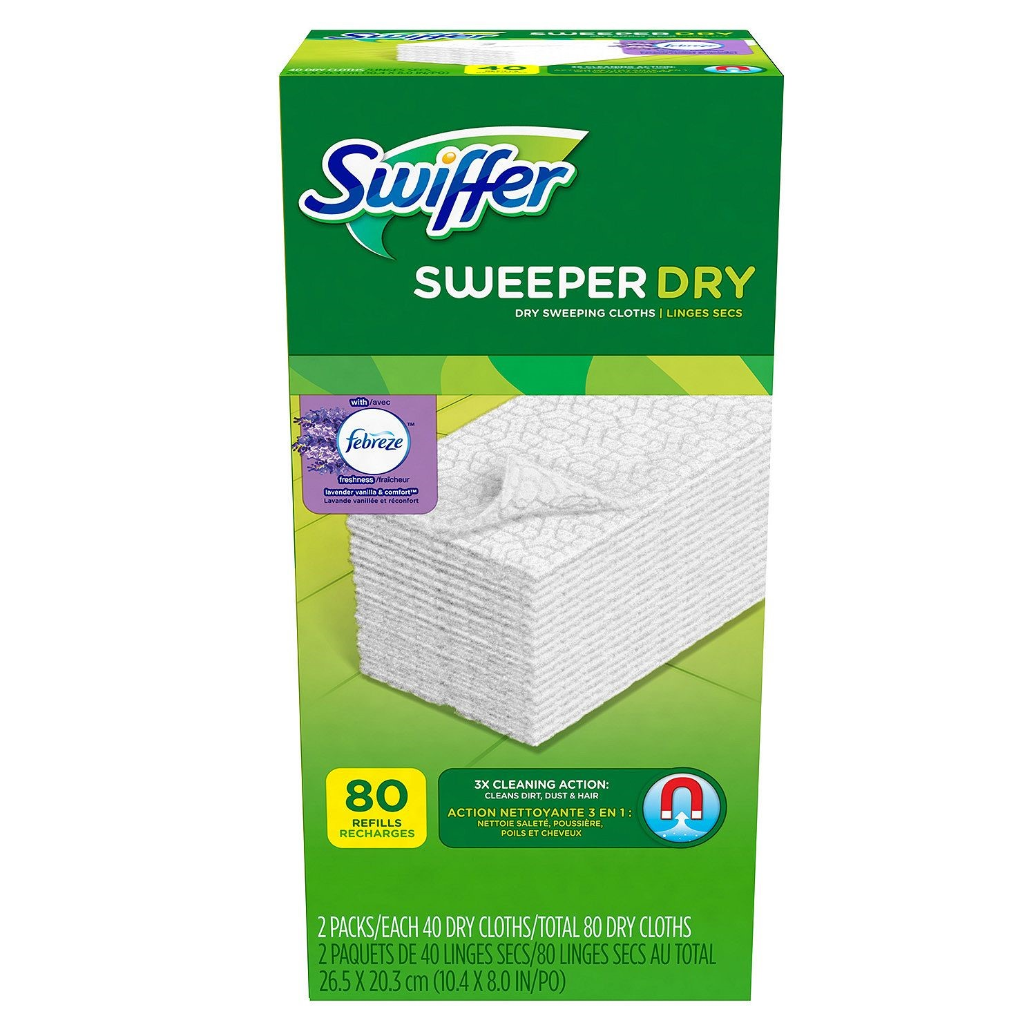 Swiffer Sweeper Dry Cloth Refill, Lavender Vanilla & Comfort Scent, 80 Ct