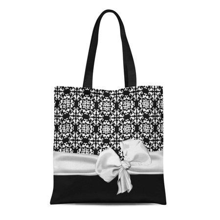 ASHLEIGH Canvas Tote Bag Elegant Black and White Idea Pretty Chic Accent Damask Reusable Handbag Shoulder Grocery Shopping Bags