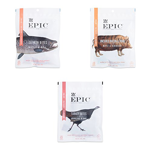Epic Jerky Bites Variety Pack Turkey, Bacon, and Salmon (3 Pack) by Epic