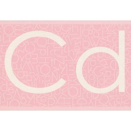 Classic Alphabet Pink Wallpaper Border Retro Design, Roll 15' x 9