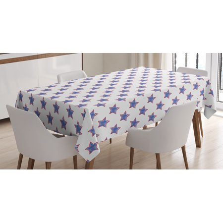 Horse Table Decorations (House Decor Tablecloth, Stars Pattern National Independence Decorations Artsy Flag Colored Print, Rectangular Table Cover for Dining Room Kitchen, 60 X 84 Inches, Navy Red White, by)