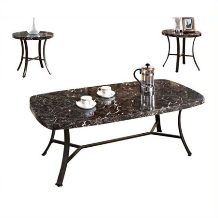 Pemberly row 3 piece coffee table set in black Furniture row coffee table