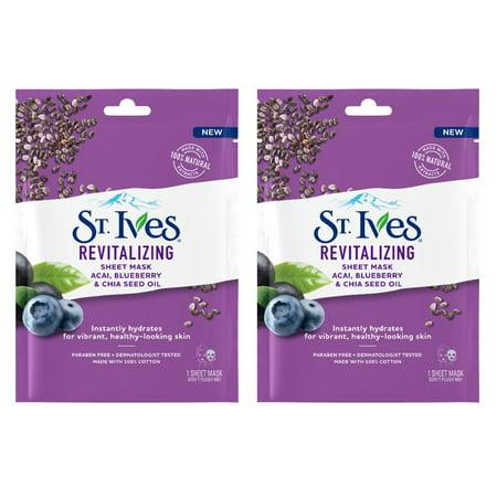 (2 Pack) St. Ives Skin Care Sheet Mask Revital Acai 1 (Best St. Ives Natural Face Masks)