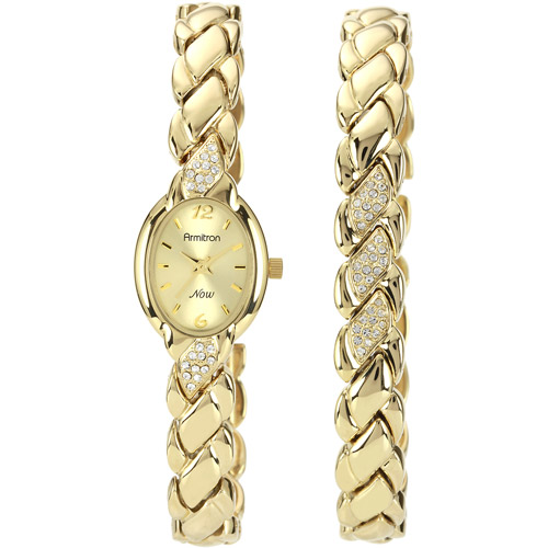 Armitron Women's Now Collection Crystal Accent Watch and Bracelet Set, Gold Tone