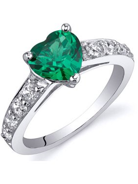 1 ct Heart Shape Green Simulated Emerald Ring in Sterling Silver