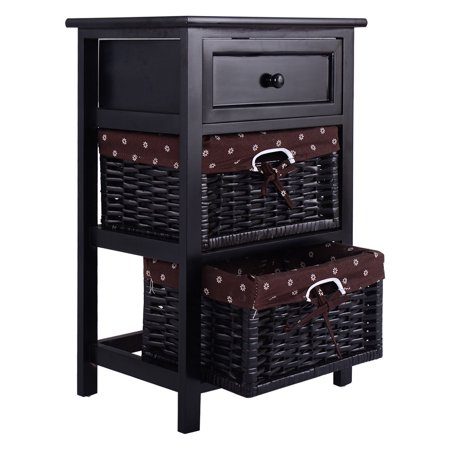 Costway Black Night Stand 3 Tiers 1 Drawer Bedside End Table Organizer Wood W/2 Baskets ()