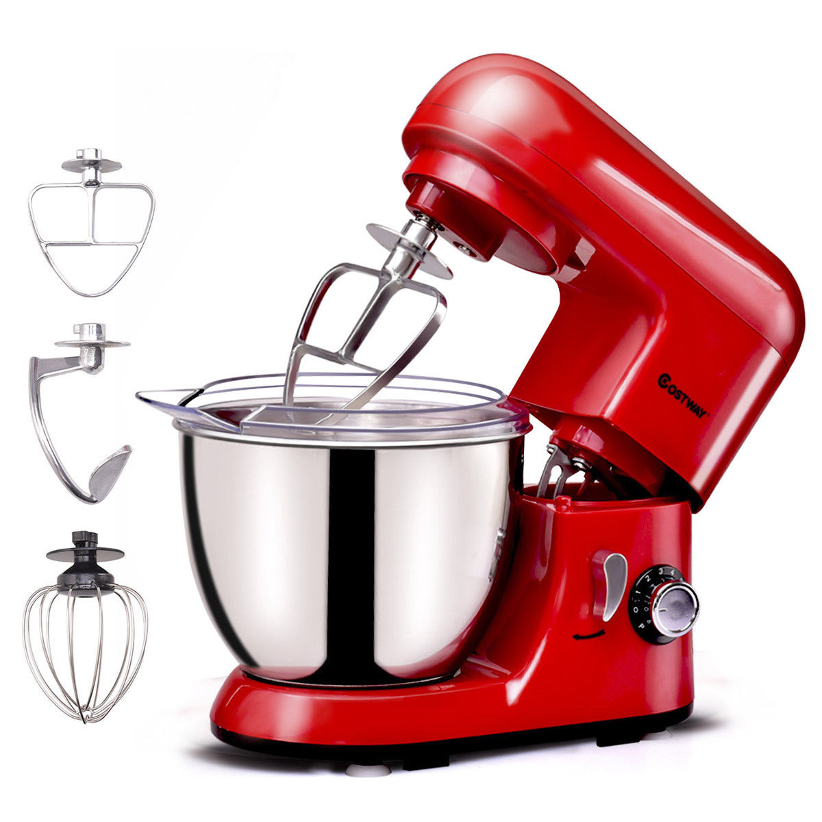 Costway Electric Food Stand Mixer 6 Speed 4.3Qt 550W Tilt-Head Stainless Steel Bowl by Costway