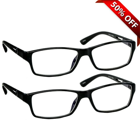 Computer Reading Glasses +2.25  2 Pack of Readers for Men and Women  2 Black