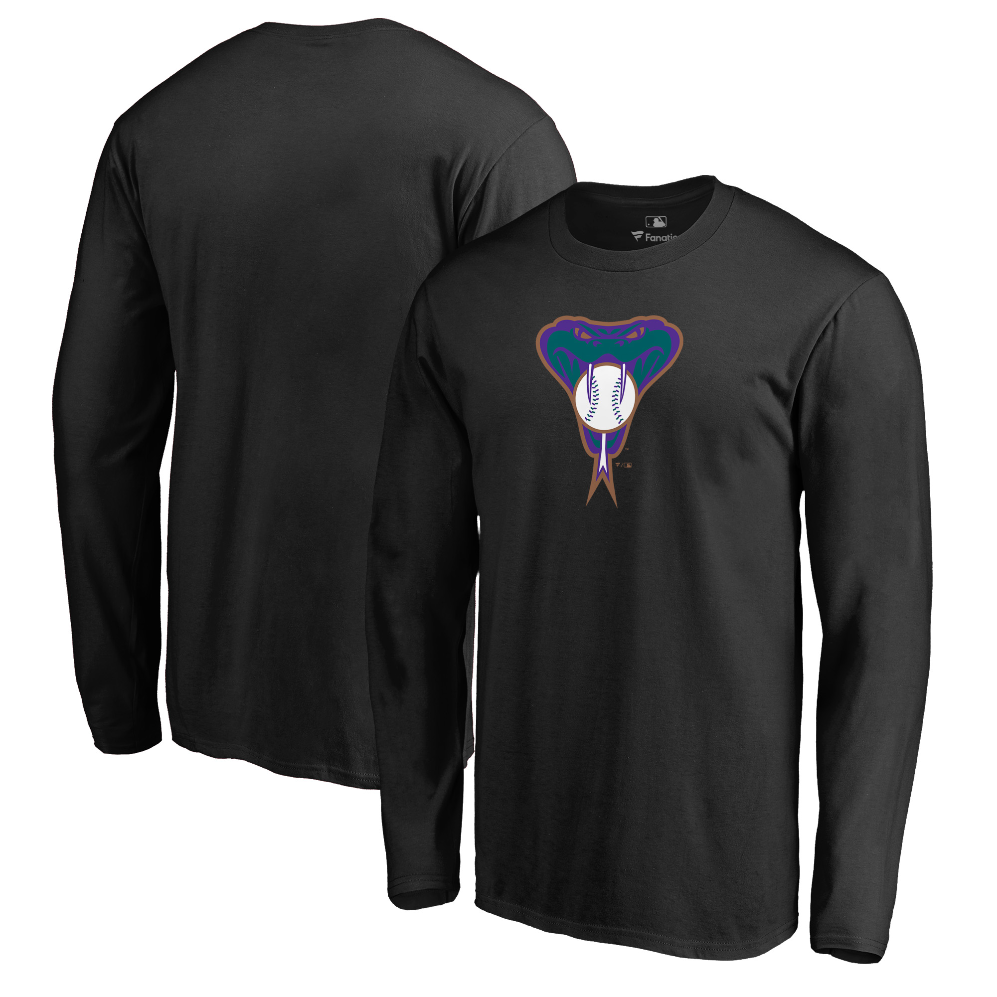 Arizona Diamondbacks Fanatics Branded Big & Tall Cooperstown Collection Huntington Long Sleeve T-Shirt - Black