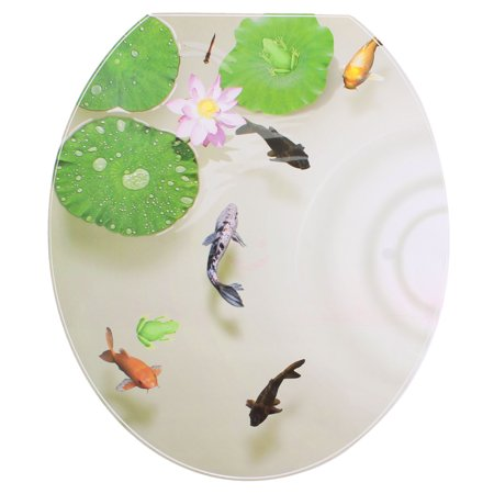 Bathroom PVC  Pond Pattern Removable Water Resistant Toilet Lid Sticker