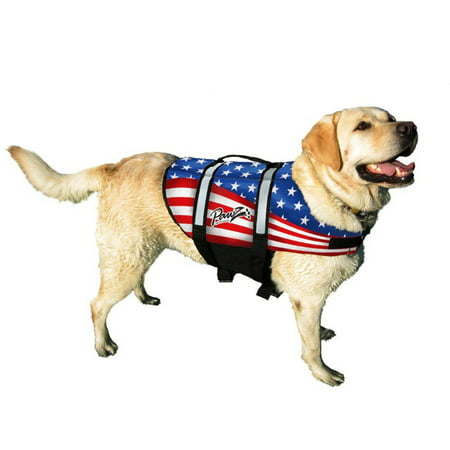 Pawz Pet Products Nylon Dog Life Jacket, Extra Large, Flag - Dog Outfits For Large Dogs
