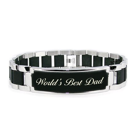 Stainless Steel 8.50 inch World's Best Dad Engraved Black ID