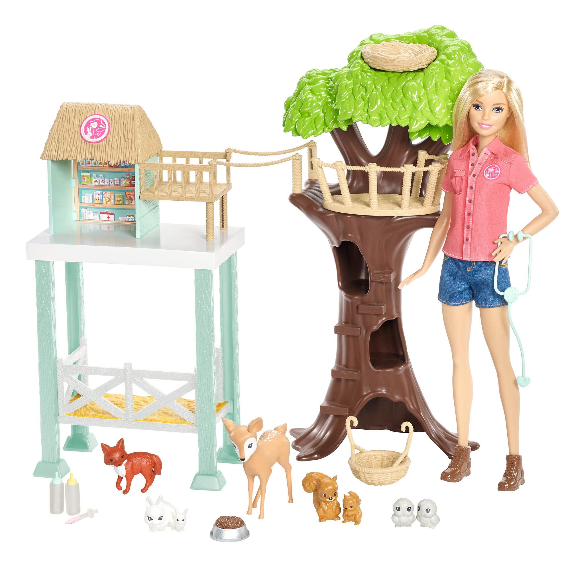 Barbie Pet Rescue Center Playset with Doll, 8 Animals & Accessories on animal safari wildlife, fisher-price farm animal set, farm animal safari set, animal planet wildlife tree house bridge, animal planet wildlife family, lego wildlife set, ocean sea animal set, animal planet wildlife game, jurassic park toy set, animal toys,