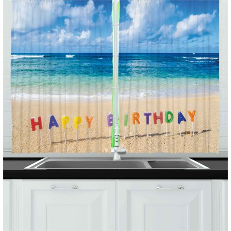 Bar Sign 39 Inch Island Decor - Birthday Curtains 2 Panels Set, Happy Birthday Sign on the Tropical Beach in Hawaii Exotic Sweet Surprise Theme, Window Drapes for Living Room Bedroom, 55W X 39L Inches, Multicolor, by Ambesonne