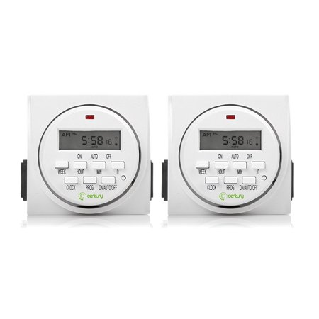 Century 7 Day Heavy Duty Digital Programmable Timer - Dual Outlet 2 Pack Dual Speed Pump Timer
