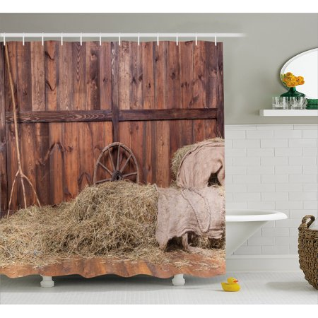 Barn Wood Wagon Wheel Shower Curtain Rural Old Horse Stable Interior Hay And