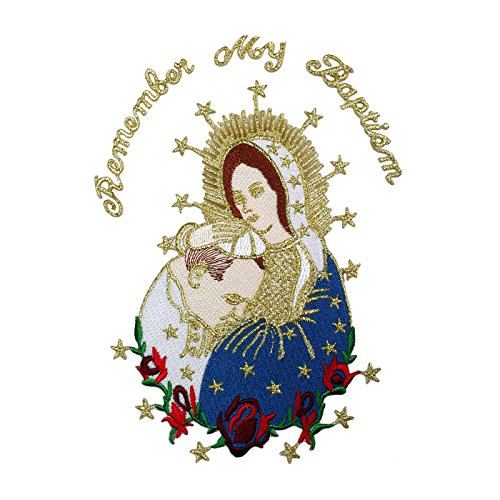 Embroidered Virgin Mary & Pope Applique Patch Metallic Gold Santa Maria Papa Motif (English)