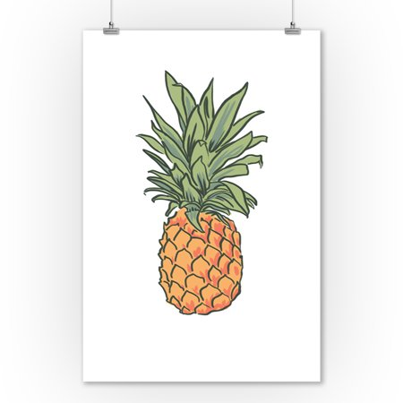 Pineapple - Icon - Lantern Press Artwork (9x12 Art Print, Wall Decor Travel Poster)