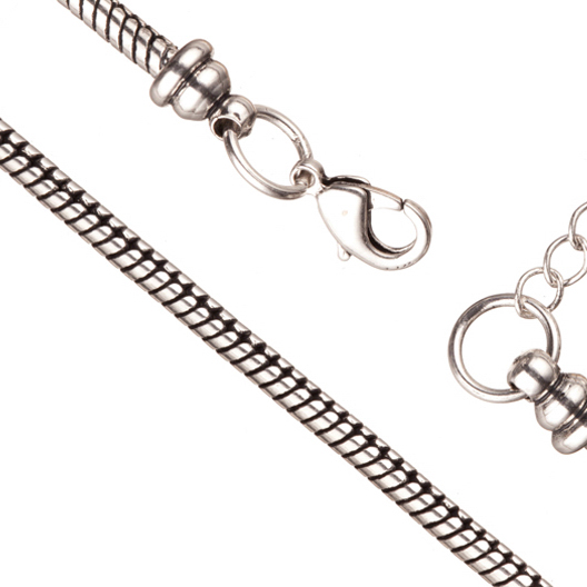 Bracelet Chain For Large Hole Charms (European Style) Antique-Silver Plated 2.7mm Snake 7.5 Inch With Lobster Claw Clasp And Extension Chain Sold per pkg of 1