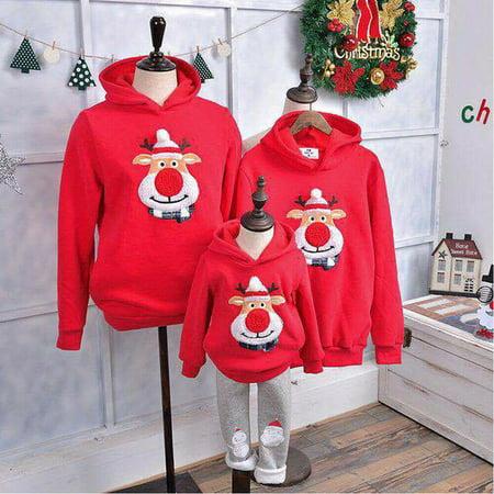 Christmas Women's Men Kids Hoodie Pullover Sweatshirt Jumper Family Matching Top Mom Kids Hoodie