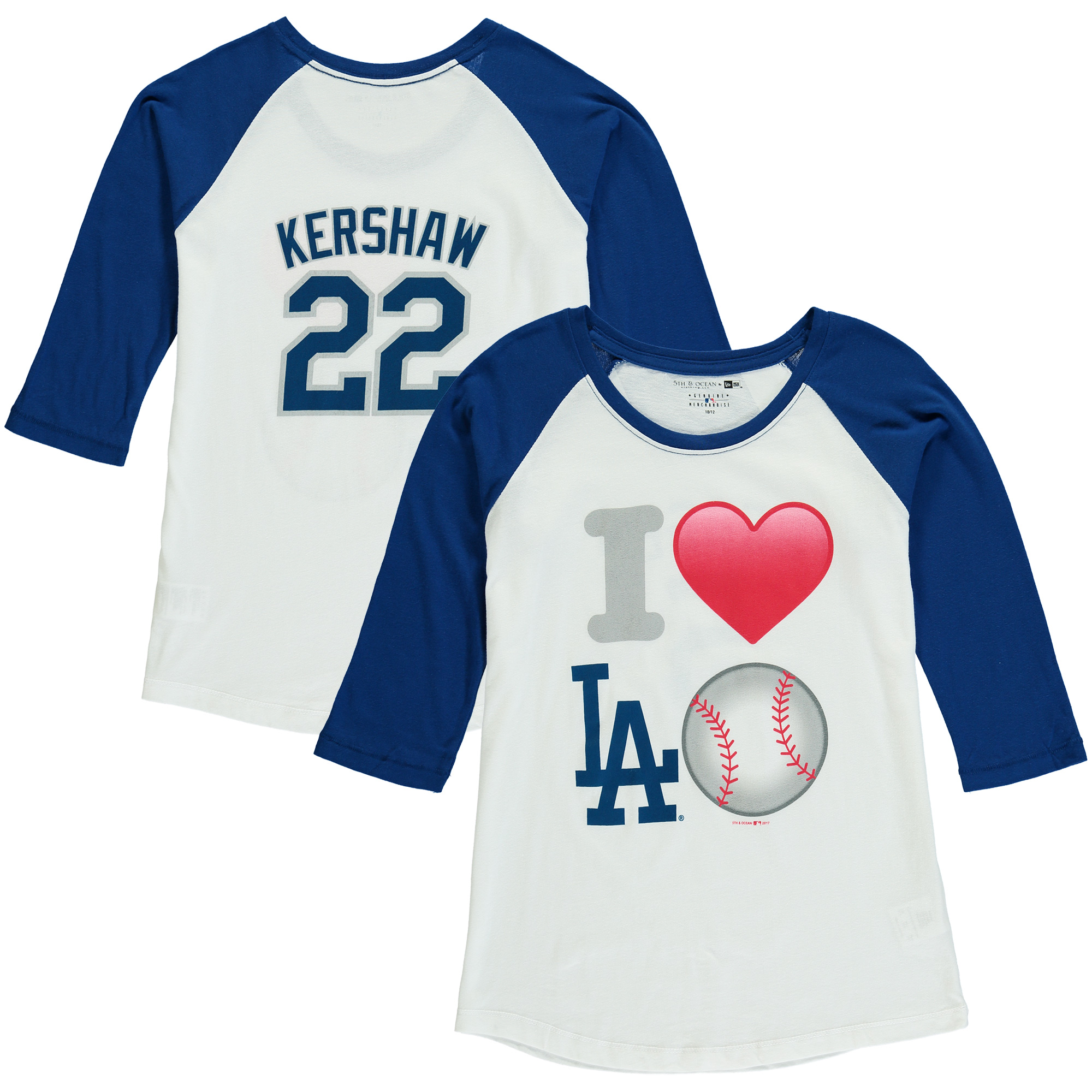 Clayton Kershaw Los Angeles Dodgers 5th & Ocean by New Era Girls Youth Emoji Love Player Name & Number 3/4-Sleeve Raglan T-Shirt - White/Royal