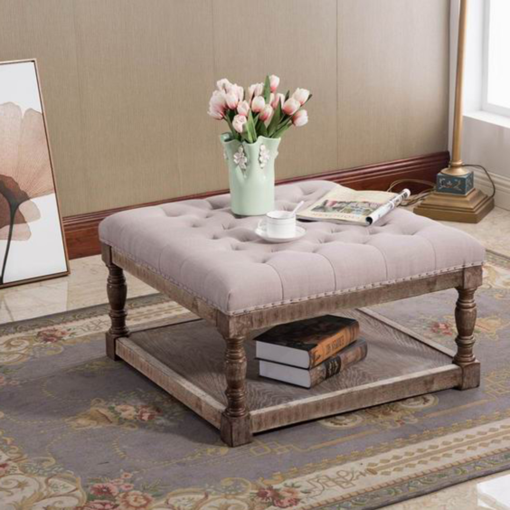 "Cairona 30"" Shelved Ottoman in Light Gray Tufted Fabric"