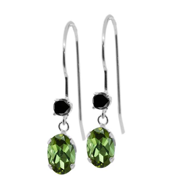 0.93 Ct Oval Green Tourmaline Black Diamond 14K White Gold Earrings