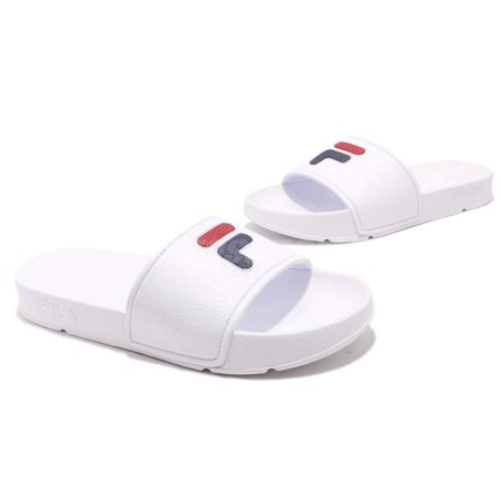 Fila 1SM00088 Men's Sleek F Box Shower Slides (White/Blue/Red, 9 D(M) US Men) Whether you're poolside or strolling into casual Friday in cool, laidback style Fila Sleek F-Box slides will complete your look! Featuring PVC band and sole that feel comfortable, and contoured footbed that provides flexibility and durability.