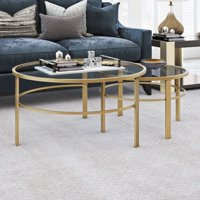 "Modern Nesting Round Coffee Table Set, Glass Accent Table In Brass, Mid-Century Minimalist Design, 2 Piece Set for Living Room, 18"" H x 36"" L x 36"" W"