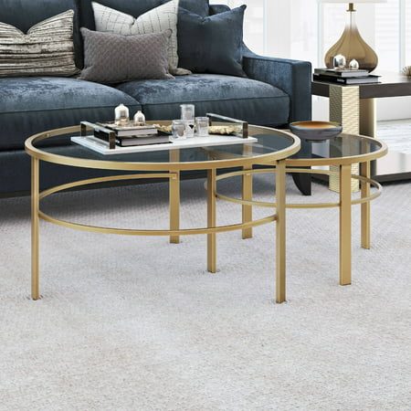 Gaia Round Nesting Coffee Tables In Gold Metal And Tempered