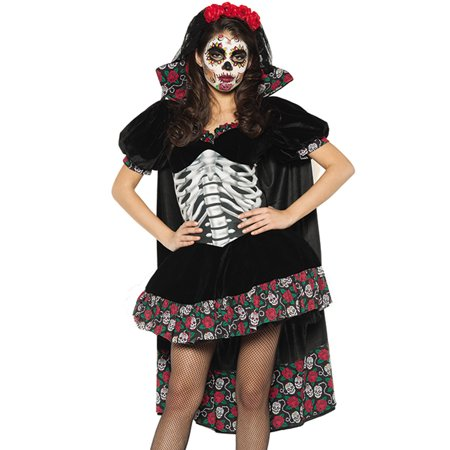 Day Of The Dead Senorita Womens Dia De Los Muertos Velvet Halloween Costume - Maquillaje De Halloween
