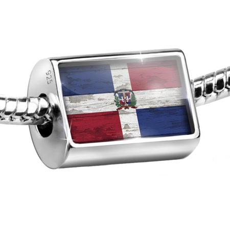 Sterling Silver Bead Flag on Wood Dominican Republic Charm Fits All European Bracelets - Als Bracelet