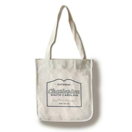 Charleston Lantern (Charleston, South Carolina - Now Entering (Blue) - Lantern Press Artwork (100% Cotton Tote Bag -)