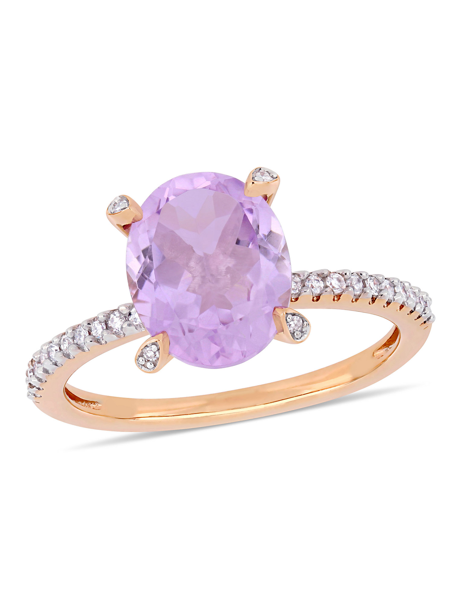 Tangelo 2-3/8 Carat T.G.W. Rose de France and 1/10 Carat T.W. Diamond 10kt Rose Gold Engagement Ring