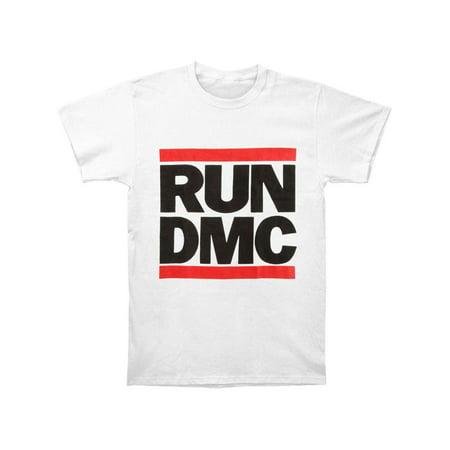 Run DMC Men's  Classic Logo White T-shirt White (Run Dmc Outfit)