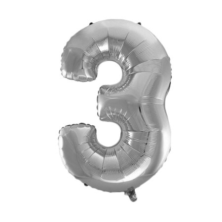 Unique Bargains Foil Number 3 Shape Helium Balloon Birthday Wedding Decor Silver Tone 30