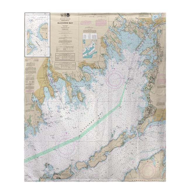 Betsy Drake BK13230BB 50 x 60 in. Buzzards Bay, MA Nautical Map Fleece Throw