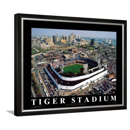 Detroit - Tiger Stadium Final Game Framed Art Print Wall Art  By Mike Smith - 30.5x24.5