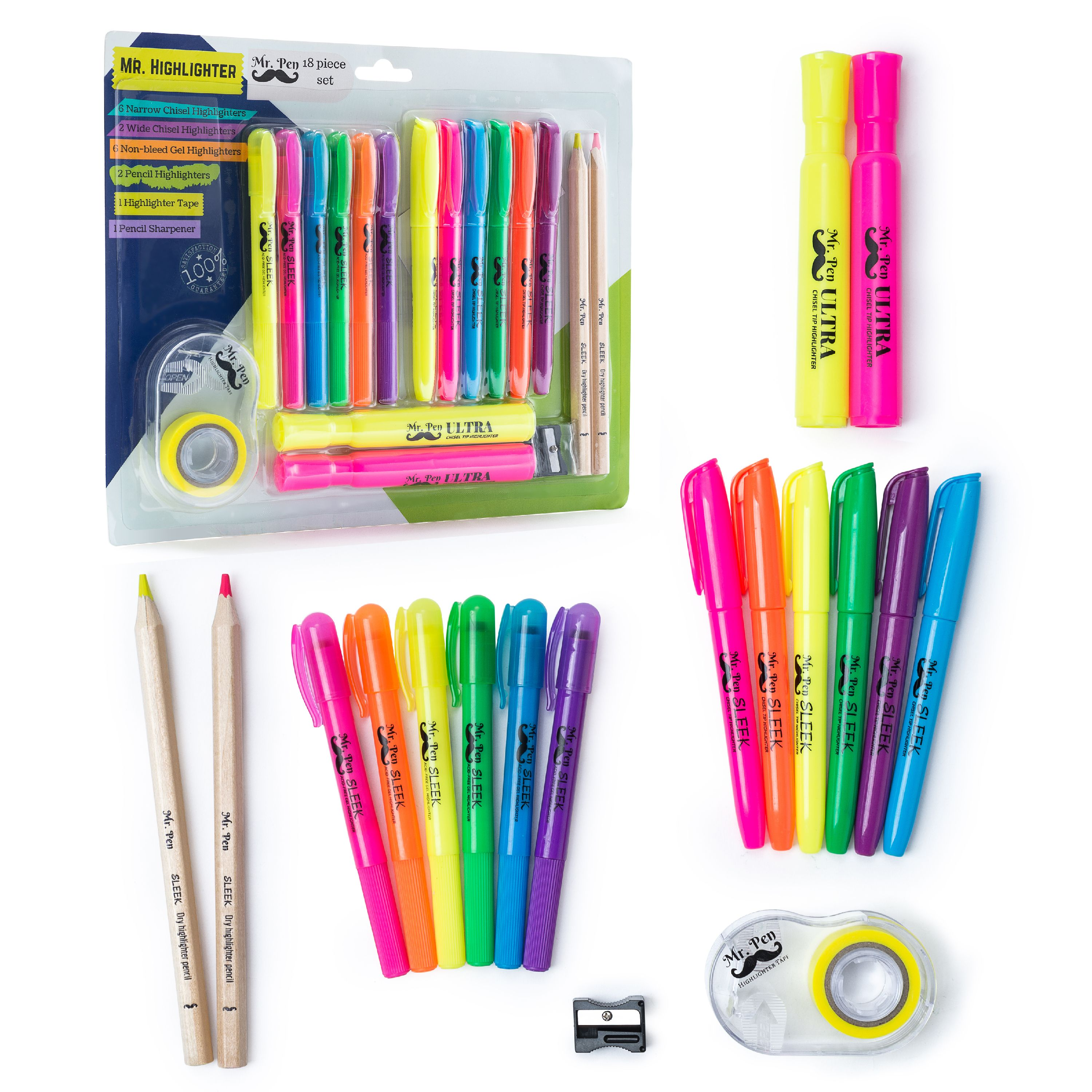 Pen No Bleed Gel Highlighter Assorted Colors Pack of 20 Mr Bible Highlighters