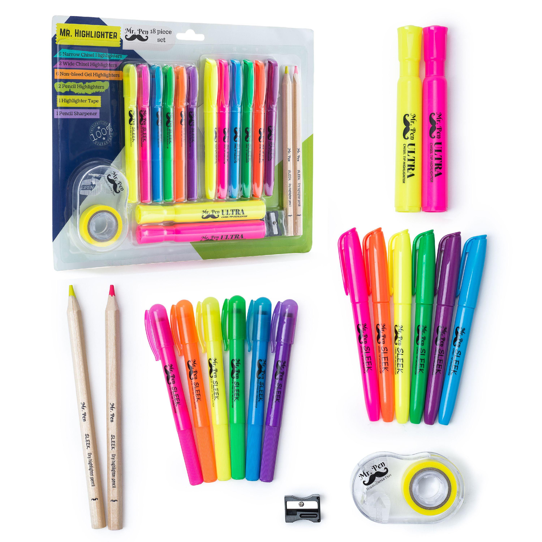 Mr. Pen- 18 Pc Highlighter Set Assorted Color, 6 Bible Highlighter and Gel Highlighter, 6 Narrow Highlighter, 2 Wide Highlighter, 2 Highlighter Pencil, Highlighter Tape with dispenser, Sharpener