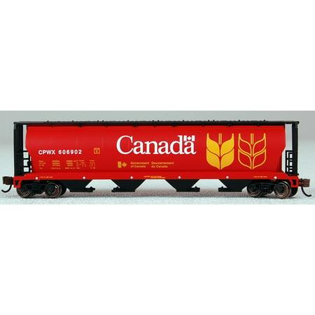 Bachmann N Scale Train 4-Bay Cylindrical Bay Hopper Canada Grain 19181