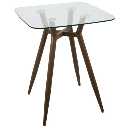 Clara Mid-Century Modern Square Counter Table with Walnut Metal Legs and Clear Glass Top by LumiSource ()