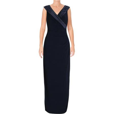 Lauren Ralph Lauren Womens Leonetta Satin Trim Portrait Collar Evening Dress