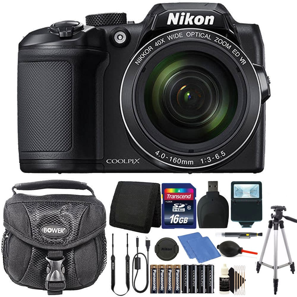 Nikon Coolpix B500 16MP Digital Camera with Extra Batteries + Accessories -Black