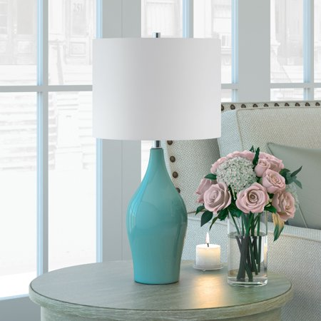 Niklas Table Lamp in Teal Blue with Taupe Shade ()