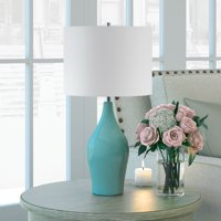 Niklas Table Lamp in Teal Blue with Taupe Shade