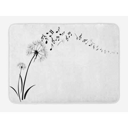 Music Bath Mat, Flying Dandelions with Notes Music Summer Spring Meadow Silhouette Softness Simple, Non-Slip Plush Mat Bathroom Kitchen Laundry Room Decor, 29.5 X 17.5 Inches, Black White, Ambesonne ()