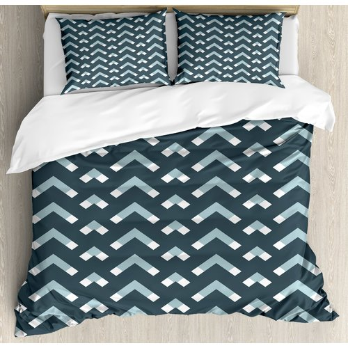 Ambesonne Modern Abstract Chevron Motifs Big and Small Triangle Edges Image Duvet Cover Set